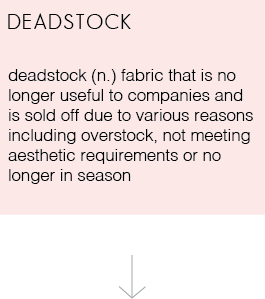 deadstock (n) fabric that is no longer useful to companies and is sold off due to various reasons including overstock, not meeting aesthetic requirements or no longer in season