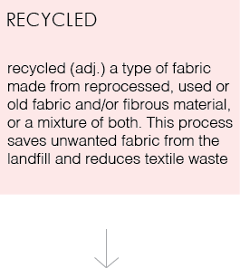Recycled (adj). a type of fabric made from reprocessed, used or old fabric and/or fibrous material. This process saves unwanted fabric from the landfill and reduces textile waste