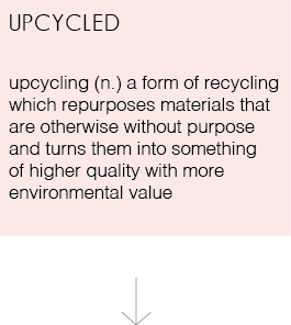 up cycling (n) a form of recycling which repurposes materials that are otherwise without purpose and turns them into something of higher quality with more environmental value