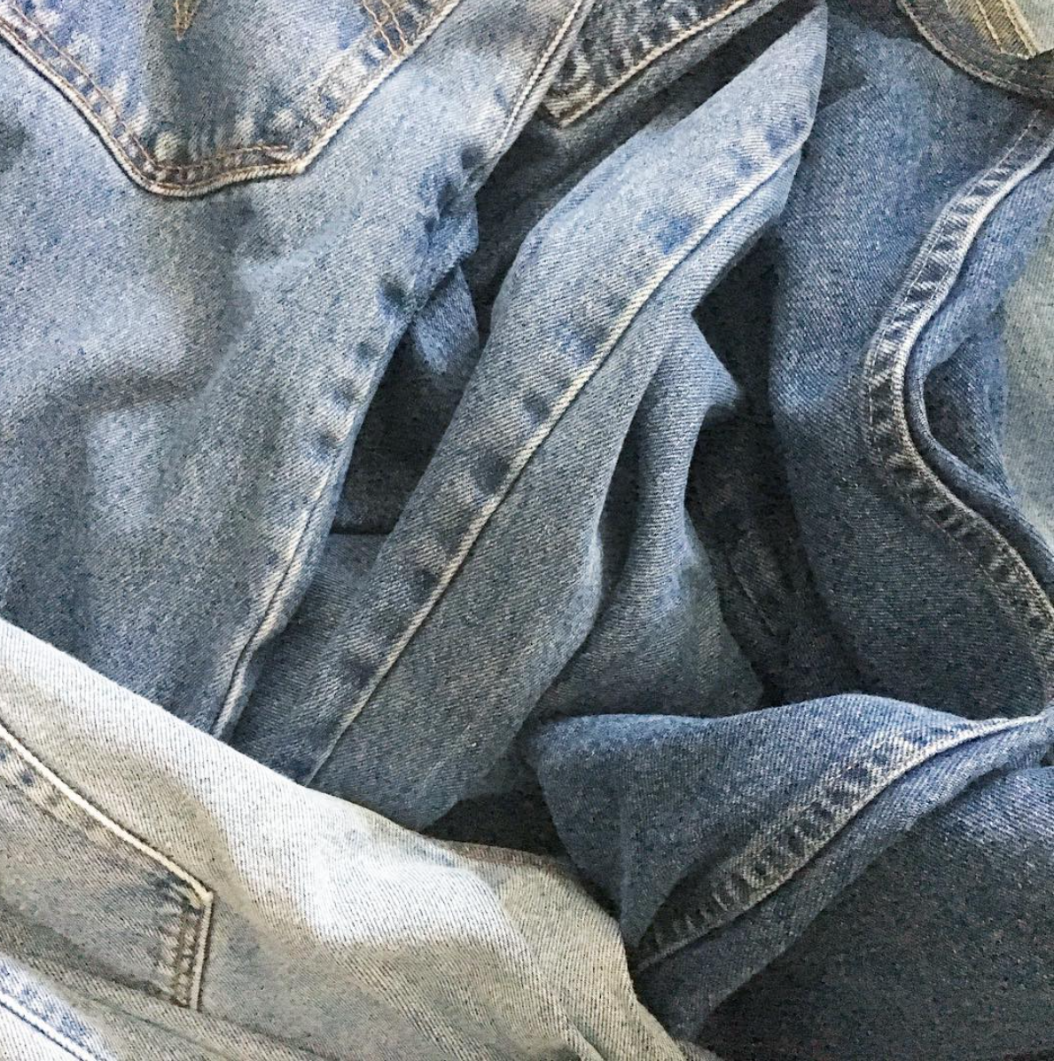 Upcycling Process: Vintage Denim Before Cutting