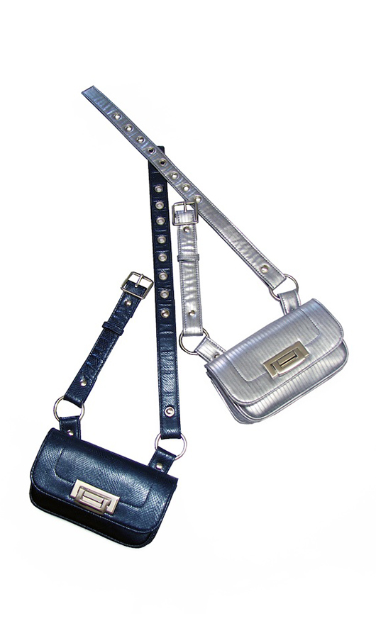 Silver and Cobalt Belt Bags