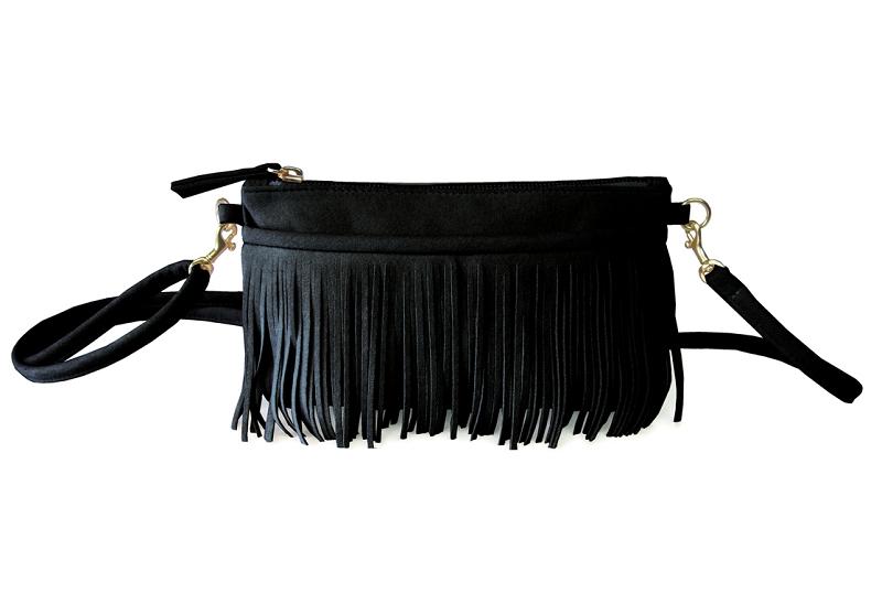 Fringe Belt Bag In Black
