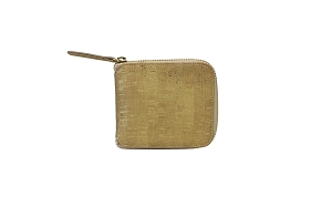 Small Zip Around Wallet in Gold Cork