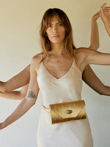 Gigi Pyrite Clutch in Gold Piñatex