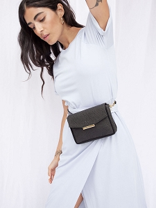 Convertible Crossbody in Black Pinatex