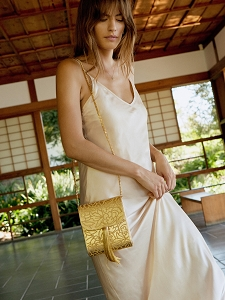 Gigi Tassel Bag in Gold Piñatex