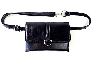 Black Flat Belt Bag (Silver)