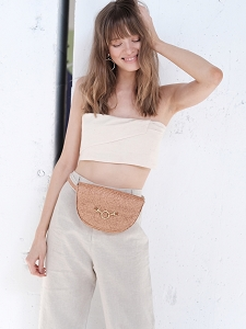 Half Moon Convertible Crossbody in Meadow Raffia