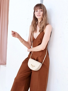 Half Moon Convertible Crossbody in White Sand Raffia