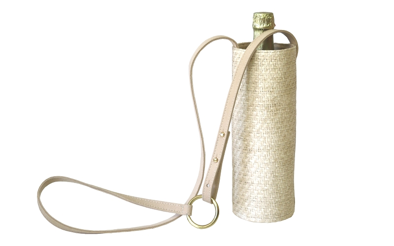 Water Wine Bottle Bag In White Sand