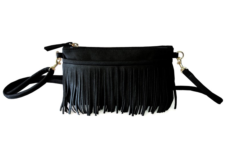 Fringe Belt Bag In Black