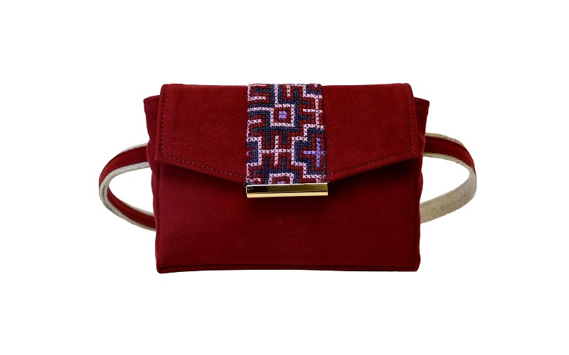 Convertible Belt Bag in Pomegranate Eco Suede w/ Vintage Embroidered Hemp