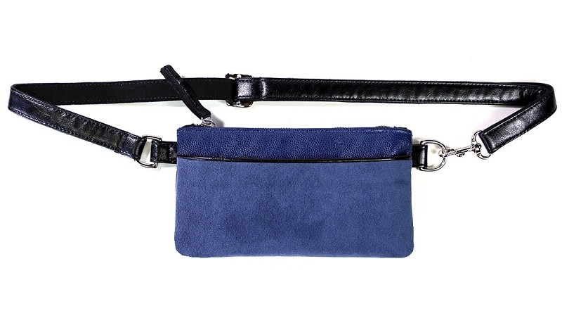 Small Pocket Bum Bag in Indigo Pebble / Suede