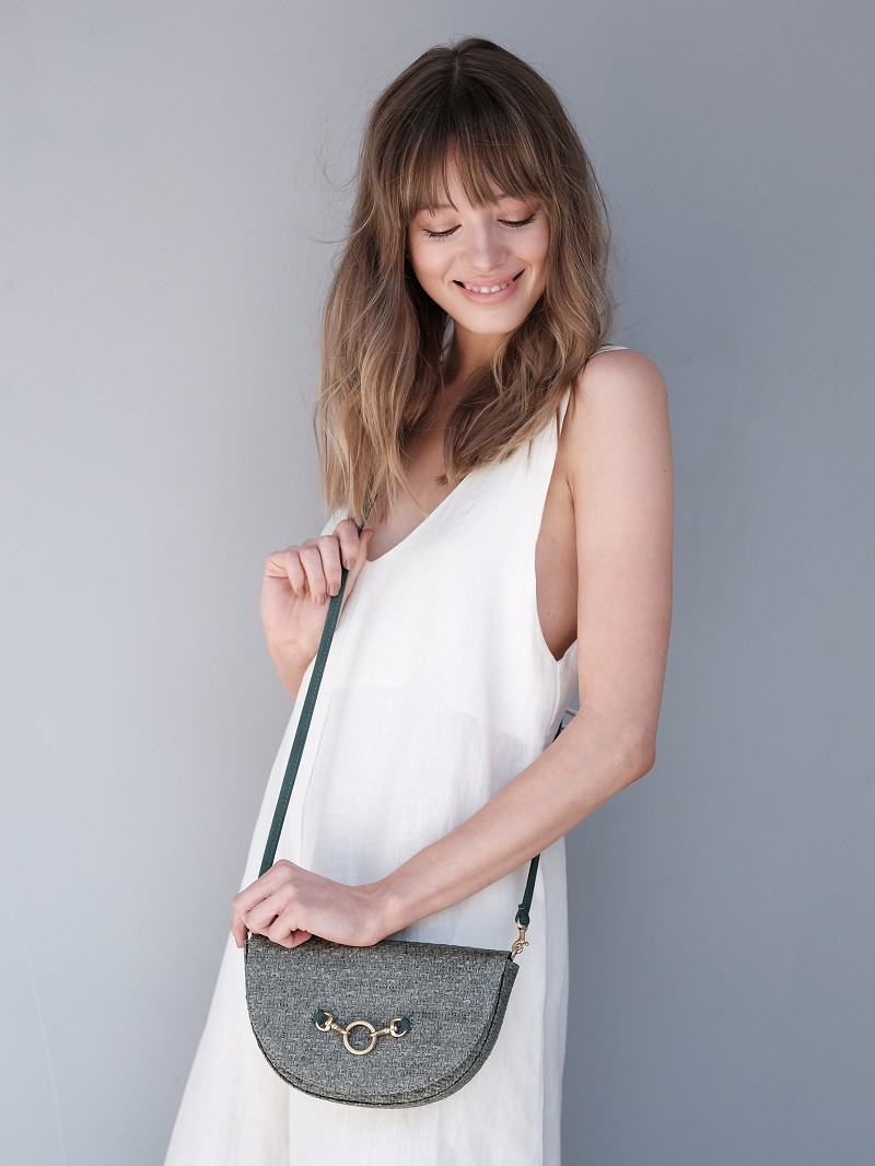 Half Moon Convertible Crossbody in Moss Raffia