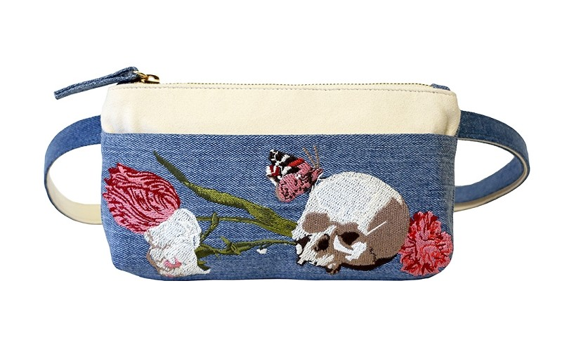 Skull Embroidered Vintage Denim Pocket Bum Bag
